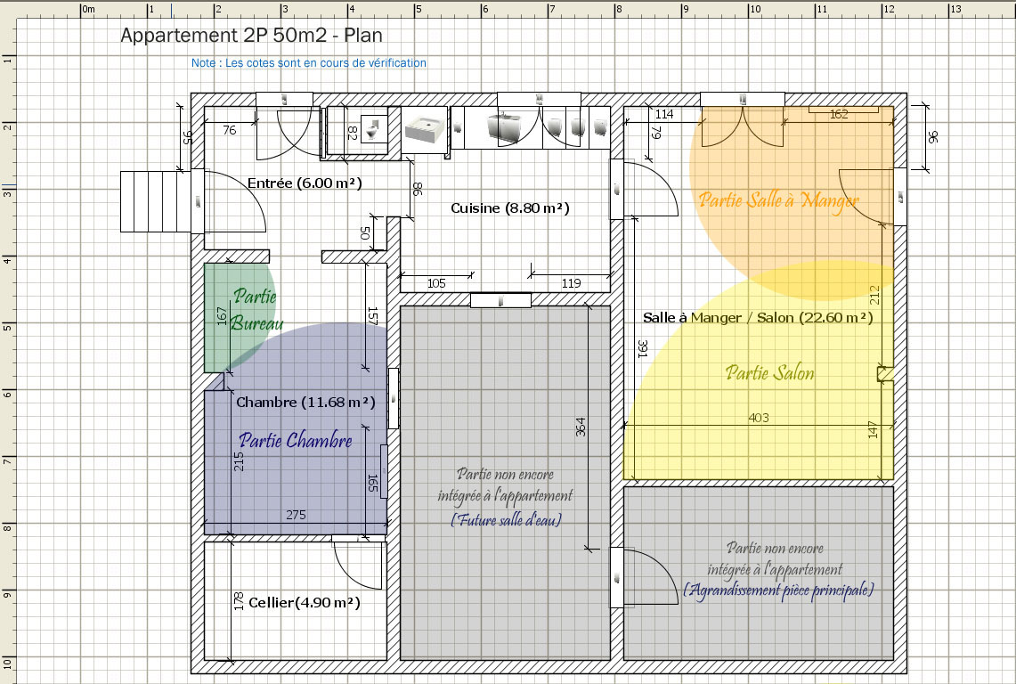 La clarine location meubl e t2 et jardin plan et 3d for Cuisine 7 m carre